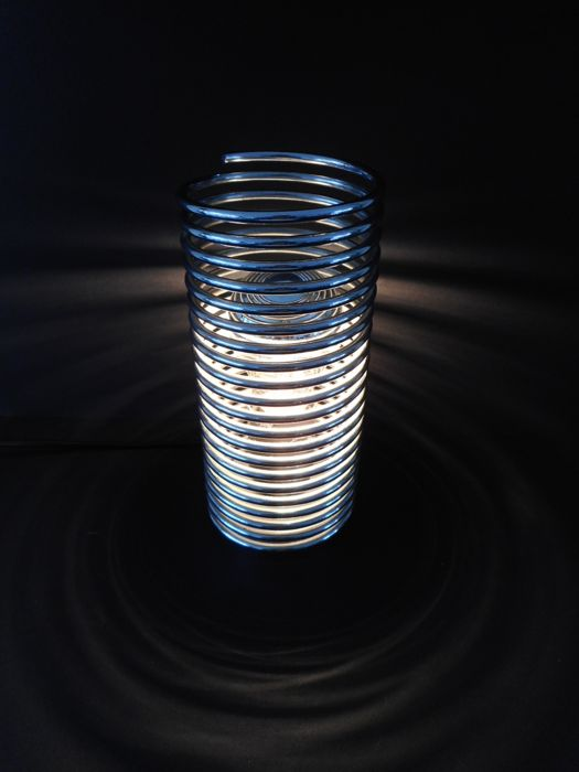 Massive - Chrome, steel spiral-shaped spring table lamp