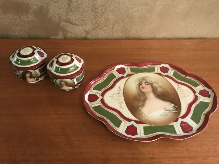 Austrian porcelain three piece boudoir set marked 'Constance'