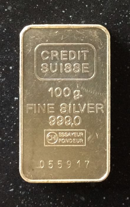 Credit Suisse - 100 grams - 999/1000 - Minted - with serial number