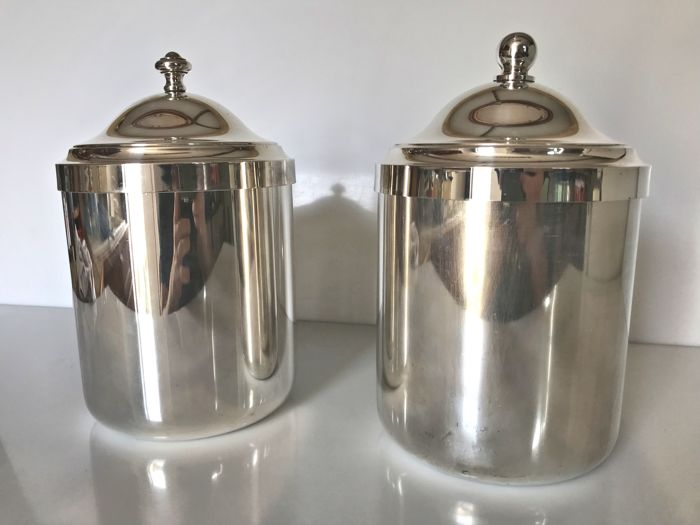 Christofle, 2x ice buckets with lids (Silver plated metal)