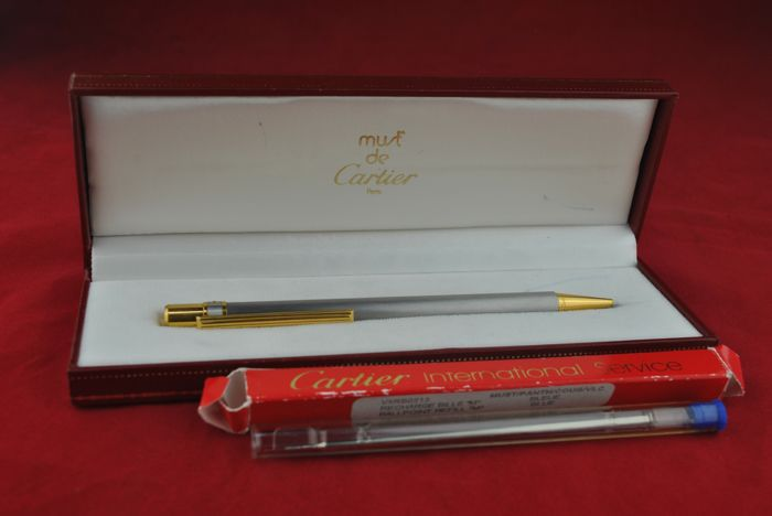 "**NO RESERVE Price** - CARTIER - ""Must de Cartier"" Steel and Gold Trim Ballpoint Pen - Stamped & Signed CARTIER + Refill  + Cartier Box"