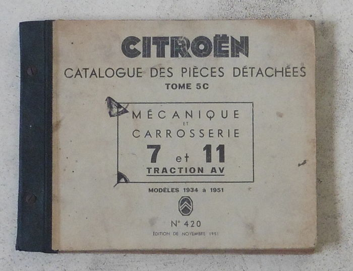 Catalogue of spare parts - Citroen Traction Avant 7 and 11