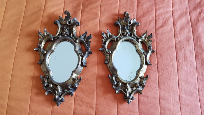 Two antique hand-carved mirrors in wood and glass - Baroque style from 19th century