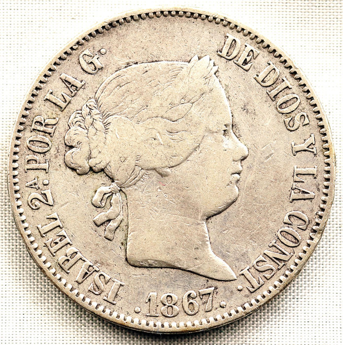 Spain - 1 Escudo 1867 Madrid - Isabel II - Silver
