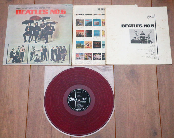 """The Beatles- Beatles No. 5 lp/ Very rare 1st Japanese mono pressing on red """"low noise"""" wax/ w. original inner sleeve & lyric sheet/ VG+"""