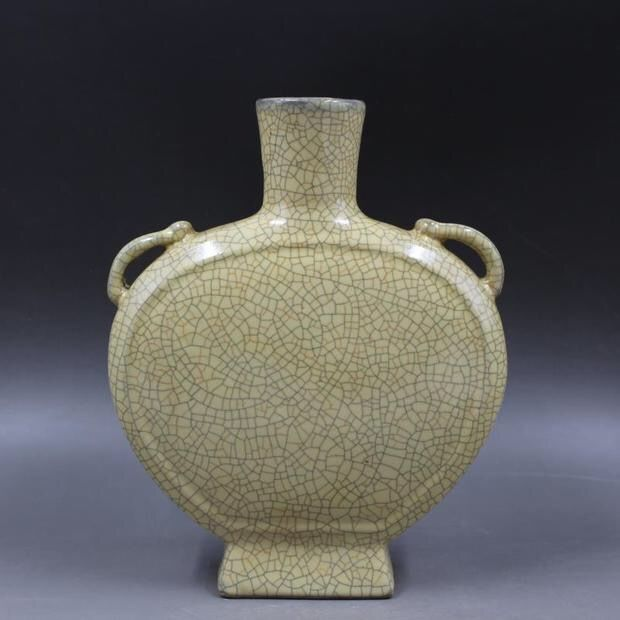 A Song Style Ge Ware Crackled Flask Moon Vase-Marked On The Base-China - late 20th century