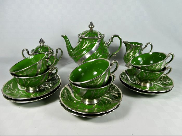Ginori - Coffee set for six people with 925 proof silver decorations