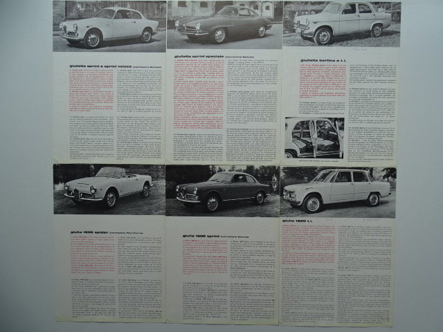 1962 - ALFA ROMEO Giulietta & Giulia - mixed lot of 6 sales leaflets