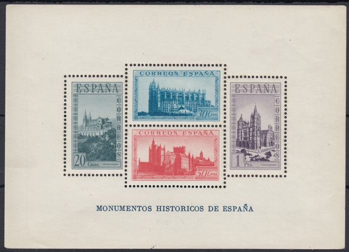 Spain 1938 - Changed colors Historical Monuments Sheet - Edifil 847cc