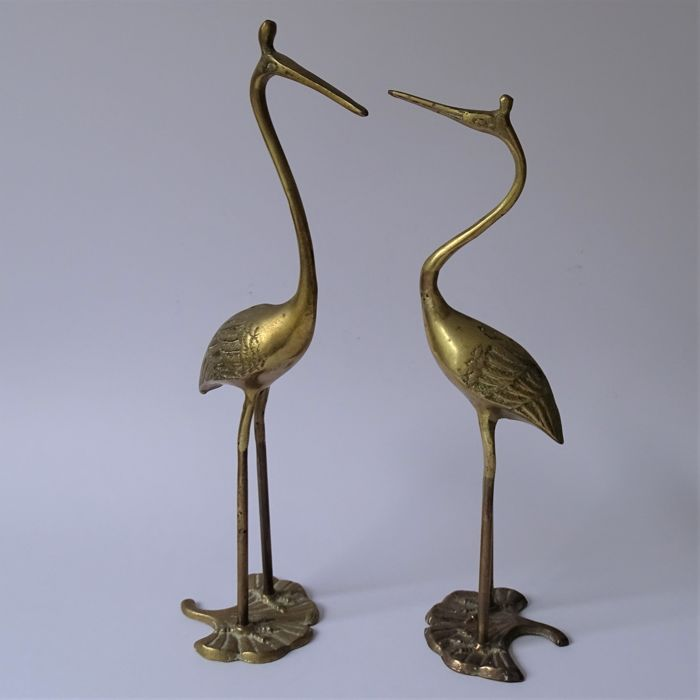 Two brass birds - vintage, 1970s