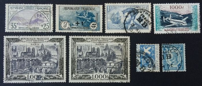 France - Semi-moderne, sélection de 8 timbres