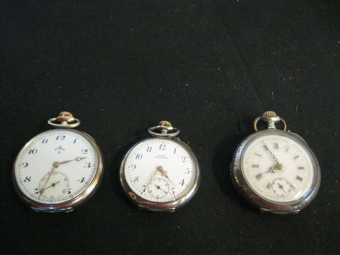 Three silver/steel pocket watches