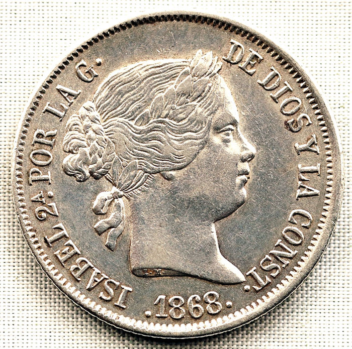 Spain - 40 Centimo 1868 Madrid - Isabel II - Silver