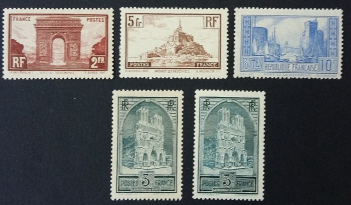 France 1929/1931 - Monuments and Sites with different types - Yvert 258, 259, 259c, 260a et 261b