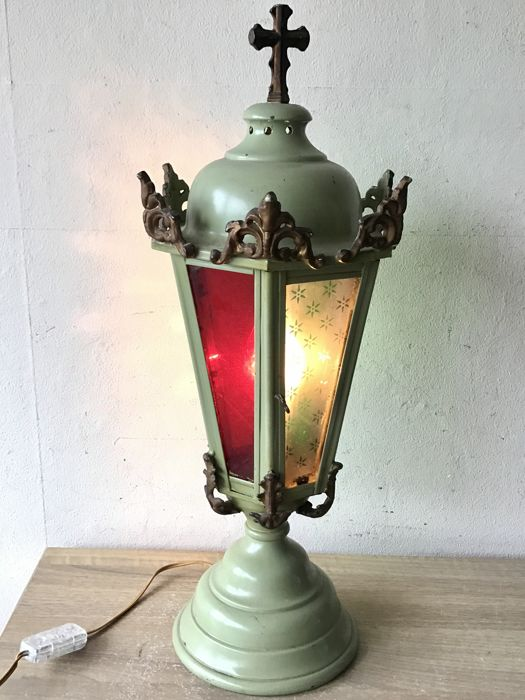 Large antique church lamp with ornaments - 1st half of the 20th century