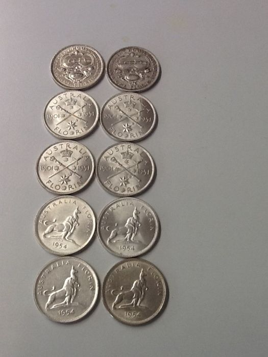 Australia - Florins 1927, 1951 and 1954 Commemorative (10 pieces) - silver