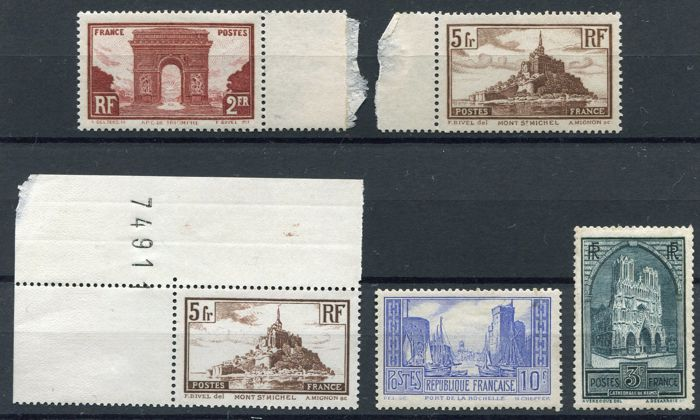 France 1929 - Monuments and sites - Yvert 258, 259, 260 (2x), 261,