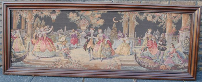 Large Gobelin wall tapestry with Venetian Belle Epoque scenes