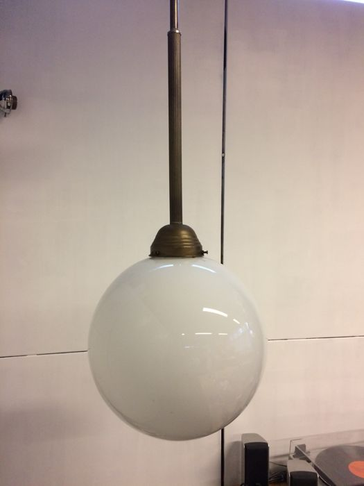 An old school lamp of opaline glass, from approx.1950
