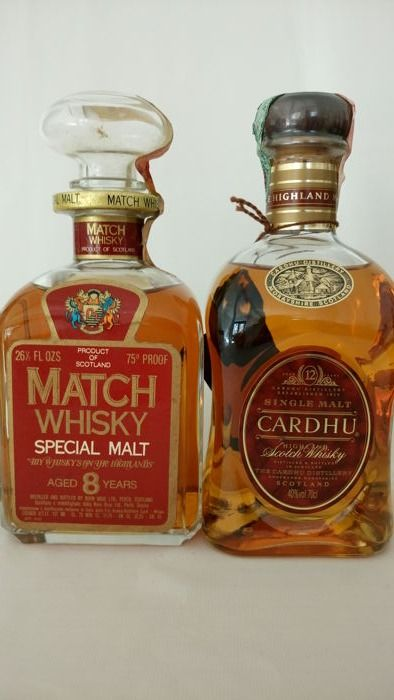 Match 8 years old Special Malt bottled 1970s (75 cl - 43%) + Cardhu Single Malt 12 years old bottled 1990s (70 cl / 40%)