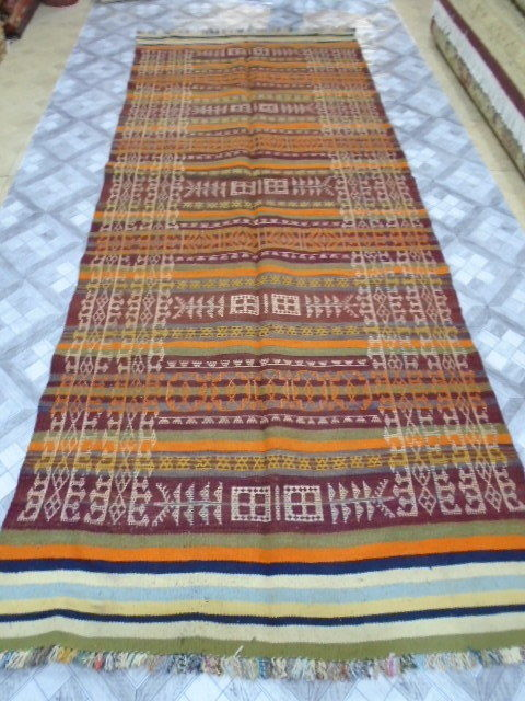 Irani Persian Kilim Hand Made 307 x 118  cm