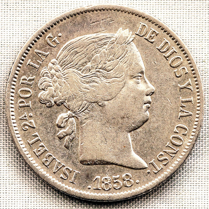 Spain - 4 Reales 1858 Madrid - Isabel II - Silver