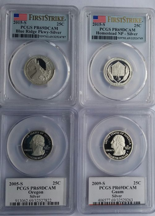 United States - 25 Cents 2005S/2015S 'Washington'  (4 coins) in PCGS Slabs - silver