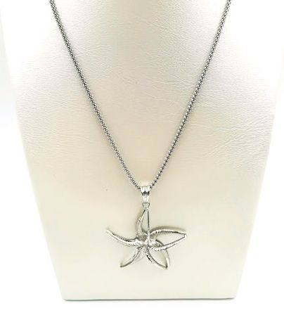 18 kt white gold necklace with flower-shaped pendant, length 24.50 cm