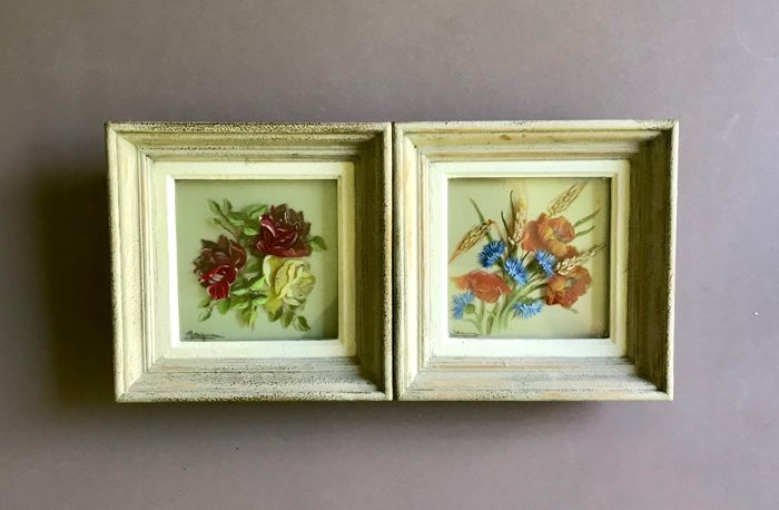 Two paintings under glass, flowers, signed Jacque - 1950s