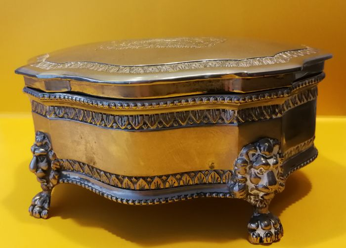 English silver plated box with coat of arms United Kingdom