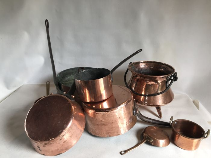 Large lot of old copper pans and pots