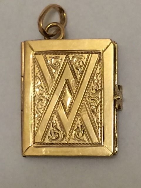 Antique gold photo pendant - the Netherlands -1920 - 2.1 cm
