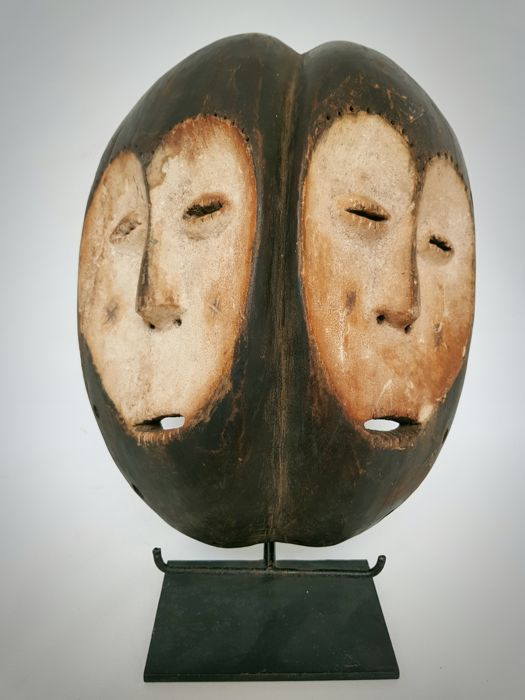 African Tribal Double Faced LEGA Bwami Society Mask - DR Congo