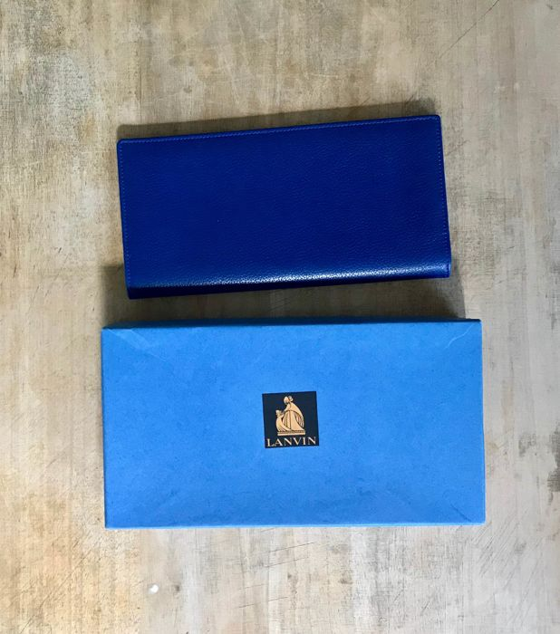 LANVIN blue leather diary cover, from 1996, numbered, in its box