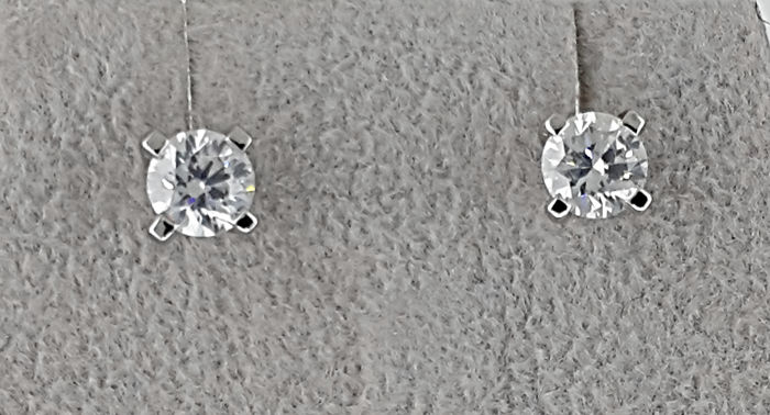 Solitaire Stud Earrings 1.00 carat TCW Round Diamond in Solid White Gold 14K  *** NO RESERVE PRICE **