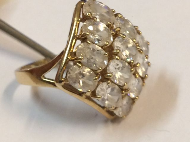 Antique gold Art Deco ring with faceted cut rock crystals - ring size 17.25 mm
