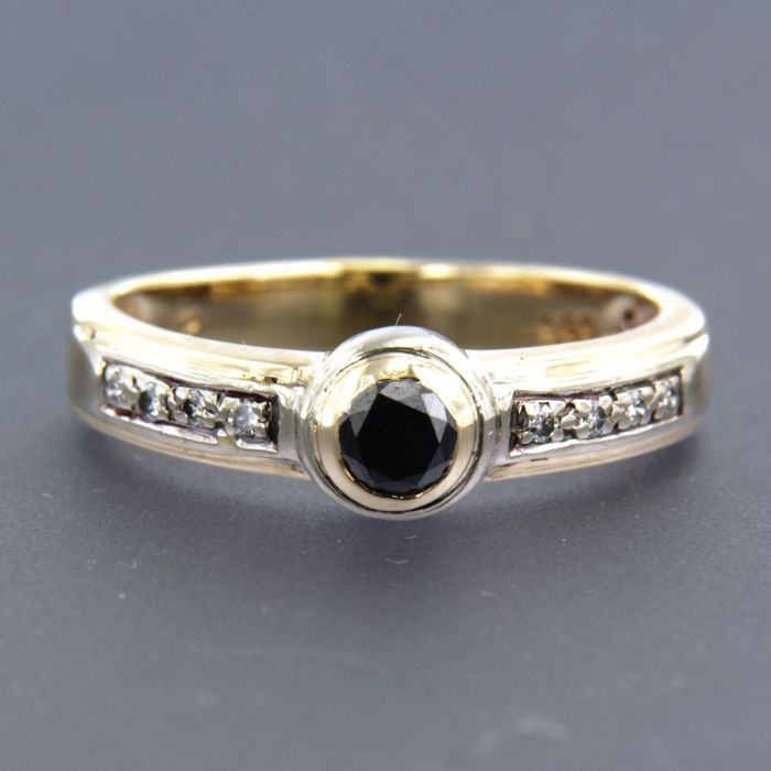 14 kt yellow gold ring set with brilliant cut diamonds, approx. 0.35 ct in total - size 19