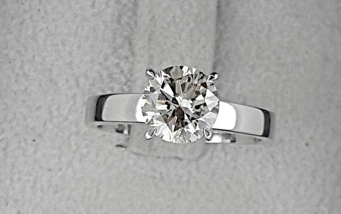 AIG 1.60 carat Round Enhanced Diamond Solitaire Engagement Ring in Solid White Gold 14K - size 7