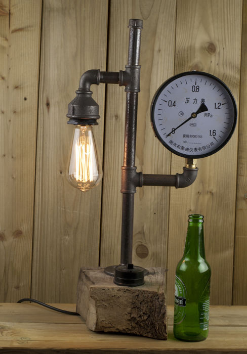 Lamp with a steam-punk retro industrial look
