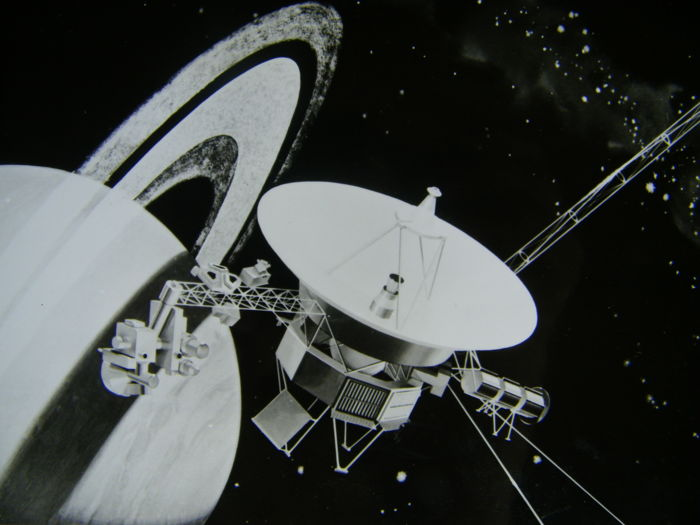 Voyager: Artistic impressions and drawing two super slides, black and white photograph, drawing. Vintage