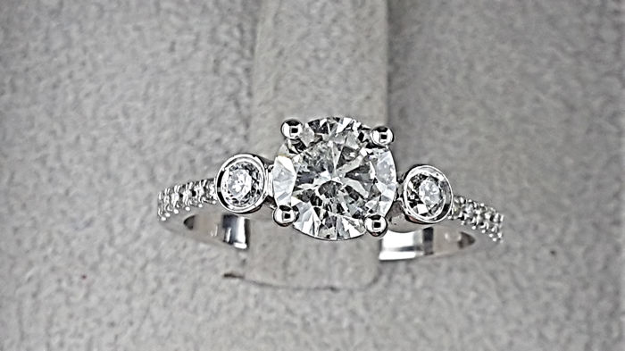 1.28 carat TCW Diamond Three Stone Engagement Ring in Solid White Gold 14K Pave Band