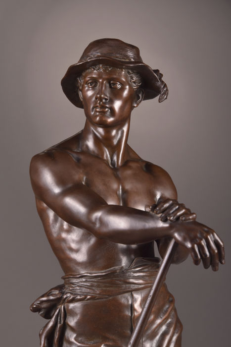 "Charles Octave Levy (France, 1820 – 1899) - ""Le Faneur"" - large and beautiful bronze sculpture - France - end of 19th century"