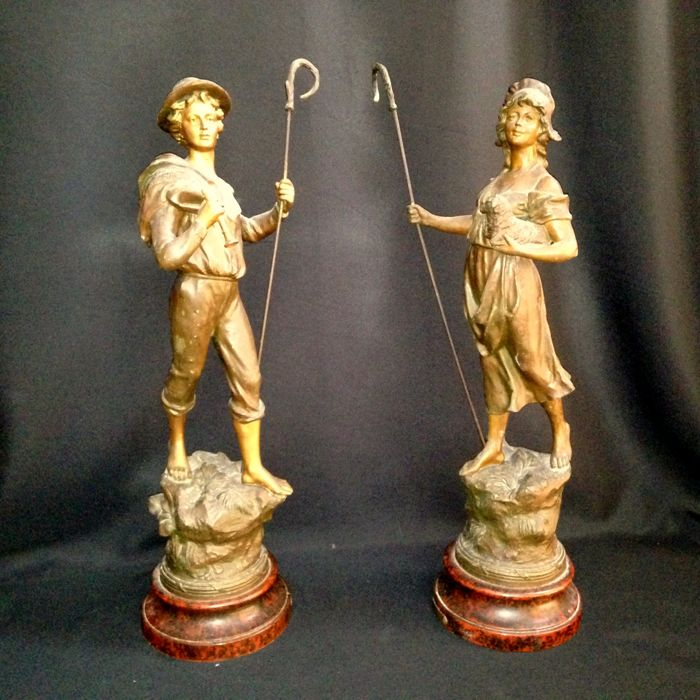 "Ca 1900 Pair of Shepherd & Shepherdess - Antimony Figurines - French ""Bergere"""