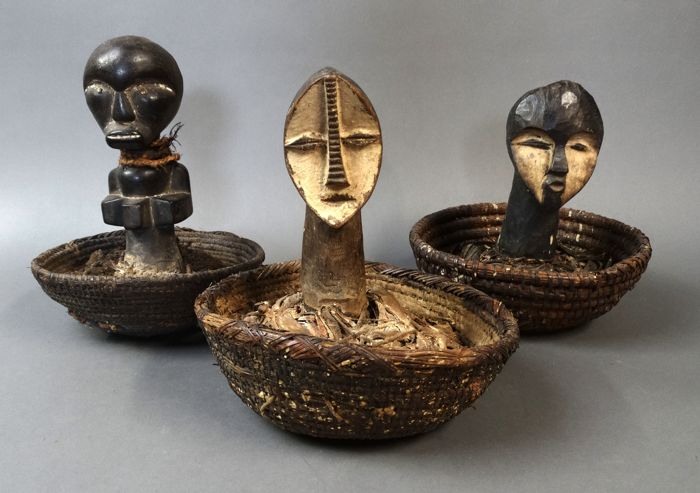 3 Reliquair fetish baskets - FANG / LEGA - Gabon, D.R. Congo