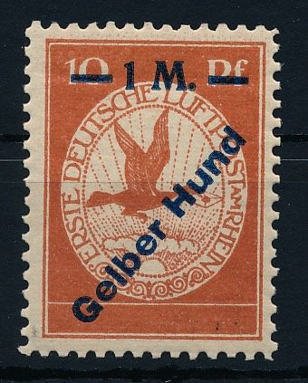 """German Empire 1912 - Air Mail on the Rhine and Main """"Yellow Dog"""" - Michel Nr. IV"""