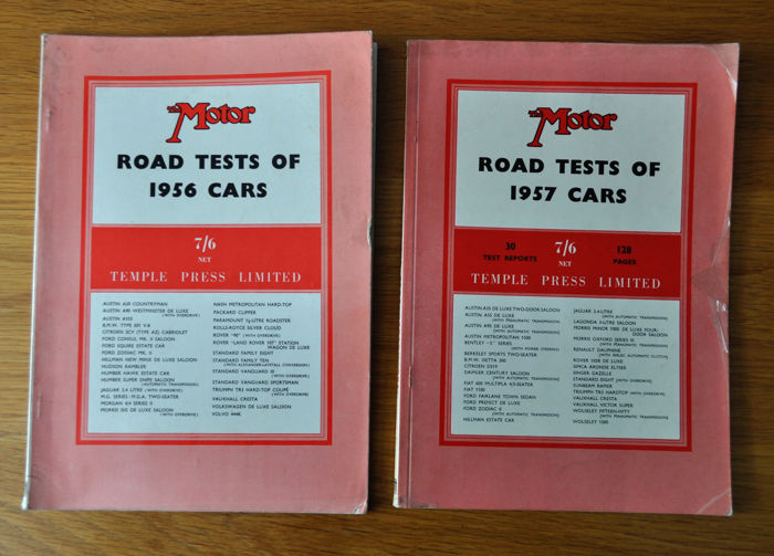 Boeken - 1956 & 1957 The MOTOR Road tests books TR3 Isetta, - 1957-1956 (2 items)