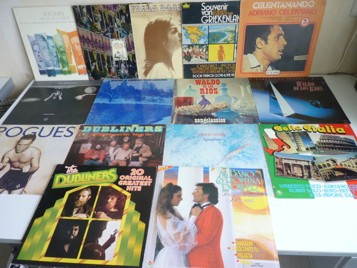 Mixed international Folk / Pop Rock lot from different countries: Italy, Argentina, Greece, Ireland, England, France, USA , many music styles are present:15 albums in total