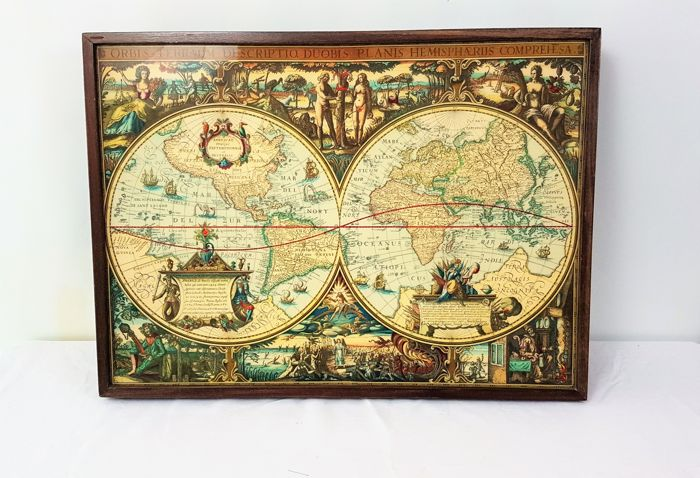 Teak foldable wall coat rack with an image of an old world map, 2nd half 20th century - Painting with foldable coat rack