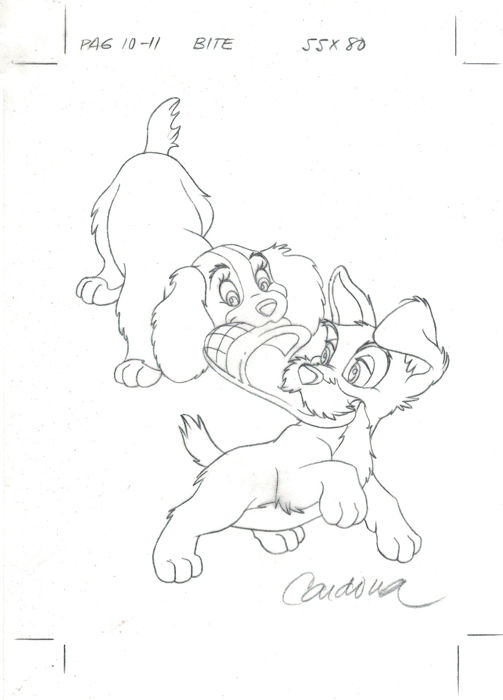 The Lady & The Tramp  - Original Production Drawing - JM Cardona  - Primeira edição - (1990)