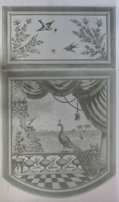 Glass panes with country decorations finely etched with acid